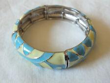 """Beautiful Stretch Bracelet Sliver Tone Blue Yellow Enamel Texture 5/8"""" W x 2 1/4"""