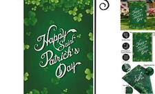 St Patricks Day Garden Flag 12.5 x 18 Inches, Double Sided Happy Green