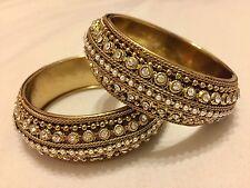 Indian Jewellery Set Of 2 Bangles/Kara/bracelets Diamanté Gold Tone Size 2.8*