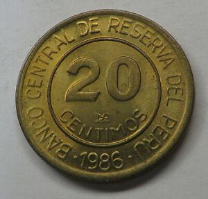 Peru 20 Centimos 1986LIMA Brass KM#294 UNC