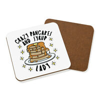 Crazy Pancakes And Syrup Lady Stars Coaster Drinks Mat Funny Joke Food Breakfast