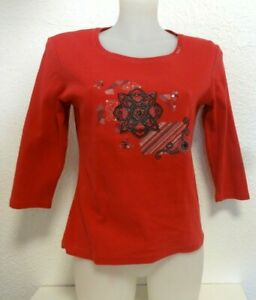 T-Shirt brodé ♥ AFFINITES Armand Thiery ♥ Taille 36 38 manches 3/4 T 1 S Femme