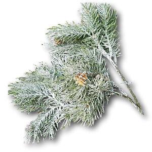 2x Tannenzweig geeist beschneit mit 4 Zweigen Weihnachten Advent künstlich