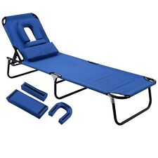 Blue Foldable Chaise Lounge Chair Bed Recliner Outdoor Beach Pool Yard Camping