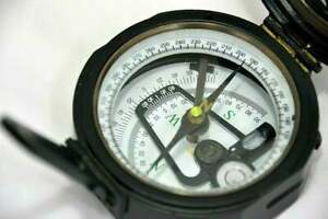 100% Working Brass Brunton Pocket Transit Compass With Leather Case