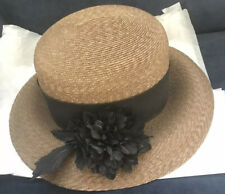Vintage Sax Fifth Avenue Hat Made In Italy - Wicker Or Straw - Black Flower