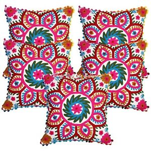 Suzani Scatter Cushion Covers 40 x 40 cm Cotton Embroidered Floral Set Of 5