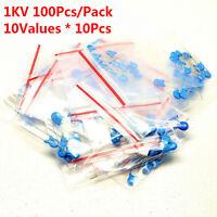 100Pcs 1KV 10 Values 101 K - 472 M High-voltage Ceramic Capacitor Assorted Kit