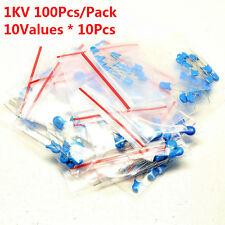 100pcs 1kv 10 Values 101 K 472 M High Voltage Ceramic Capacitor Assorted Kit