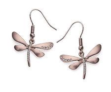 Coffee Gold Tone Drop/Dangle Dragonfly Earrings