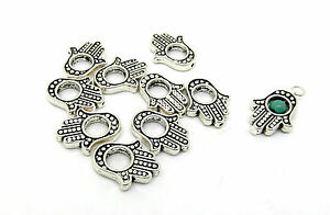 10 Hamsa Hand Charms Fits 4mm Bead 15mm Antique Silver Tone J00372H