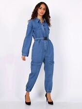 Womens Jumpsuit Denim Boiler Suit Blue Size 6 10 12 14 8 All in One Catsuit