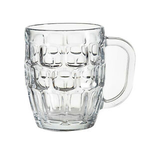 Classic Beer Half Pint Mugs Glass Pot Pub Bar Style Tankard Handle Stein Dimple
