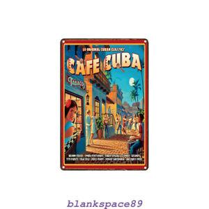 Metal Tin Sign cafe Cuba Bar Pub Home Vintage Retro Poster Cafe ART