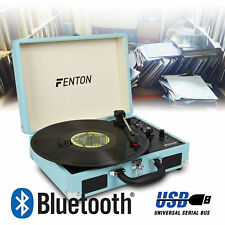 Vintage Portable Briefcase Vinyl LP Record Player Turntable Built-In Speakers