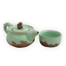 Chinese Ru Kiln Porcelain Tea Set for One Fu Dog Design Teapot Set