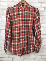 J. Crew Long Sleeve Red Summer Plaid Check Cotton Shirt Men's Size XS