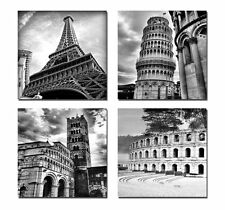 Black White Paris Italy Canvas Photo Prints Modern Wall Art Framed 4 Pictures