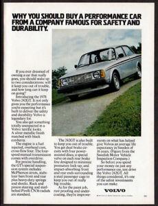 1978 VOLVO 242 GT Vintage Original Print AD - Silver car photo USA performance