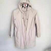 J. Jill Utility Jacket Petite Size S Hooded Zip Up Pockets Drawstring Waist Tan