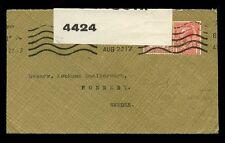 Gb 1917 Ww1 censurado a Suecia... Hughes Fancy Sobres + Perfin