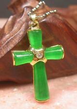 Gold Plate ICY Green JADE Pendant Jesus Cross Necklace Diamond Imitation 257716