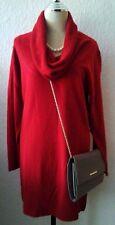 Damen langer Pullover mit Schalkragen in Rot . Gr . L