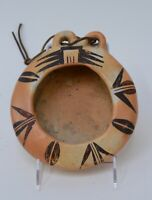 Antique Hopi Pueblo Indian Pottery bowl with unusual double finger grips