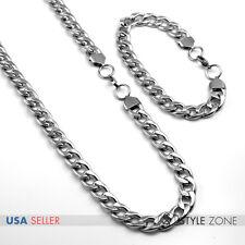 SET Men's Stainless Steel 12 mm Cuban Curb O Link Chain Bracelet & Necklace B66