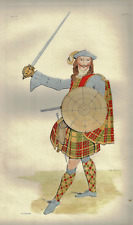 """The Costume of the Clans - """"SCOTTISH WARRIOR"""" - Hand-Colored Litho - 1892"""