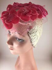Vintage 1950s Womens Ooolala! Hat Pink Wired Velvet Flowers Roses Silk Netting