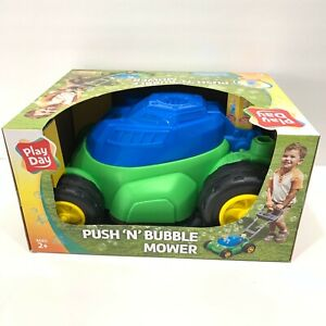 Play Day Push 'N' Bubble Mower w/ Realistic Sounds Includes Bubble Solution Toy