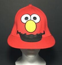 "Adult Sesame Street Elmo Flat Bill Fitted Hat A Flex One Size Red 22"" Circumfer"