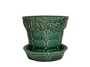 McCoy Pottery Green Glaze Quilted Rose Flower Pot w/ Attached Saucer #111
