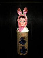 Antique Easter rabbit /Bunny Candy Container /bisque doll head ,glass eyes