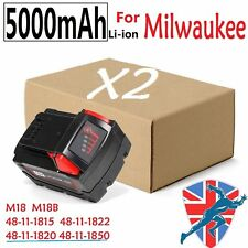 2X 5.0AH Battery For Milwaukee M18 48-11-1850 48-11-1828 48-11-1841 2646-22CT