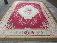 Old Hand Made French Design 12x9 Wool Red Green Original Aubusson 362X275cm