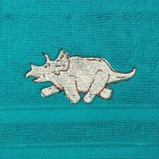 Embroidered 100% Cotton Face Cloth / Flannel - Dinosaur Triceratops
