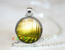 Forest Tree photo glass dome Tibet silver Chain Pendant Necklace wholesale