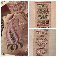 3 For 1 Cross Stitch Kits Evening Bag  May June Samplers Threads Beads No Fabric