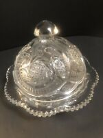Vintage EAPG Pressed Glass McKee Sunburst Aztec Round Covered Butter Dish Clear