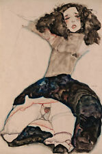 Black-Haired Girl with lifted skirt Egon louche Femmes nues rock B a3 01606