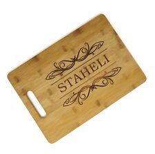 "Custom Engraved Bamboo Wood Cutting Board Rectangle 13 3/4"" x 9 3/4""  Great Gift"