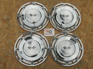 """1960 CHEVY IMPALA, NOMAD 14"""" WHEEL COVERS, HUBCAPS, SET OF 4 WITH SAWTOOTH CLIPS"""