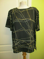WOMENS BLACK CHIFFON BLOUSE TOP WITH BEIGE IVORY PRINT BY BONMARCH SIZE 18