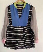 SARA PHILLIPS divine Multi Coloured Silk Blouse Top Size 12