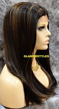 Straight Dark Brown Auburn Mix Human Hair Blend Full Lace Front Wig Hair Piece