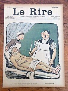 le rire - colour title print from 1901 . humoristique medical scene !