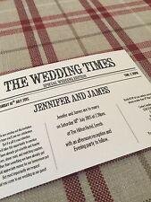 50 PERSONALISED VINTAGE NEWSPAPER WEDDING INVITATIONS  *FREE P/P*