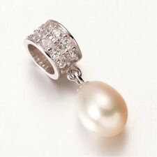 Freshwater PEARL DROP- Solid 925 sterling silver-CZ- European bead charm-Pendant